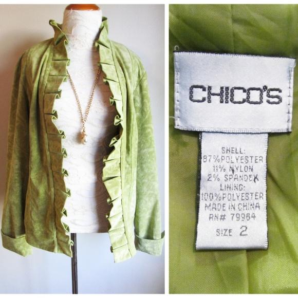 de5e5c548 Chico's Velvet Ruffle Lime Green Open Blazer